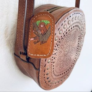 Vintage Bags - Costa Rica Leather Circle Round Crossbody Bag